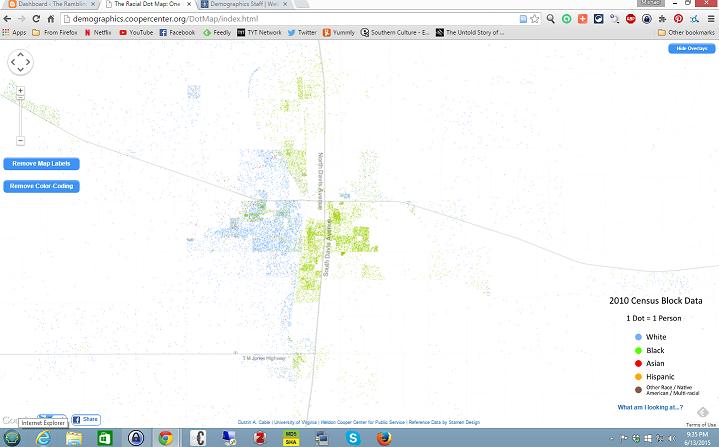 Dot map of Cleveland, Mississippi