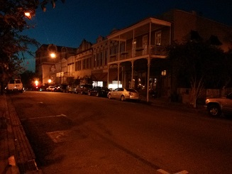 Downtown Natchez at night.